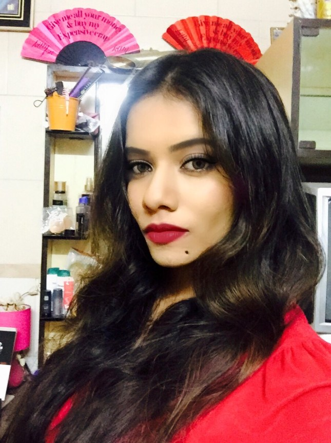 maybelline red lips on ritwika