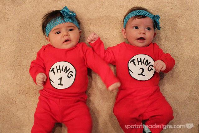 DIY Thing 1 and Thing 2 #baby #halloweencostume | spotofteadesigns.com