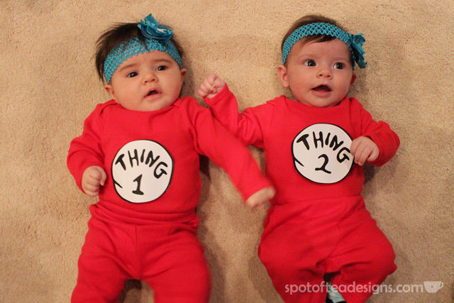 DIY Thing 1 and Thing 2 #baby #halloweencostume | spotofteadesigns.com