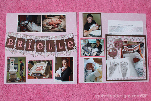 Baby Scrapbook: 2 page spread about the birth including a raised pocket for multiple pages   spotofteadesigns.com