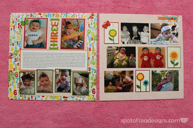 Baby Scrapbook: Create 1 two page spread with favorite photos of the month and journaling of milestones/highlights. Month 3 | spotofteadesigns.com