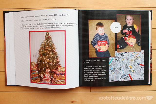 Family Dictionary Photobook: add definions to common words and phrases of your family along with pictures. Great Mother's day gift idea!   spotofteadesigns.com