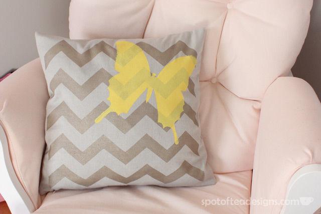 Tulip #ForYourHome Stenciled Pillow Tutorial | spotofteadesigns.com