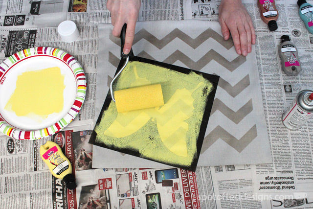 Stenciled Nursery Pillow tutorial featuring Tulip #ForYourHome Stencils and Paints | spotofteadesigns.com