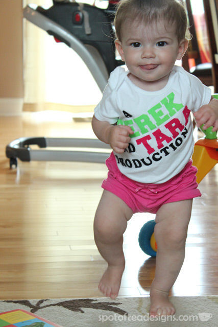 "DIY Onesie using iron on letters. Reads ""A Derek and Tara Production"" 