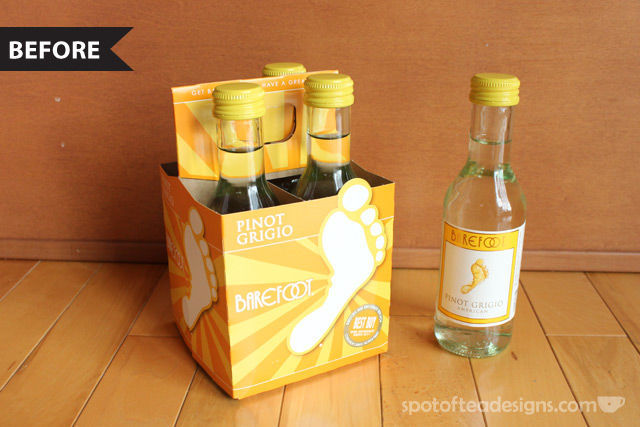 Mommy's Time Out Wine Gift: Before shot of the 4 pack of mini bottles | spotofteadesigns.com