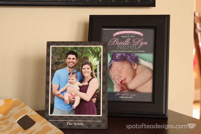 Family photo home decor accessories from @Shutterfly - frame your baby announcements | spotofteadesigns.com
