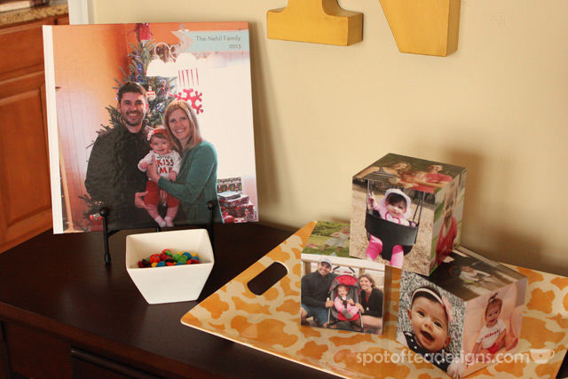 Family photo home decor accessories from @Shutterfly - display a photo book on their easel | spotofteadesigns.com