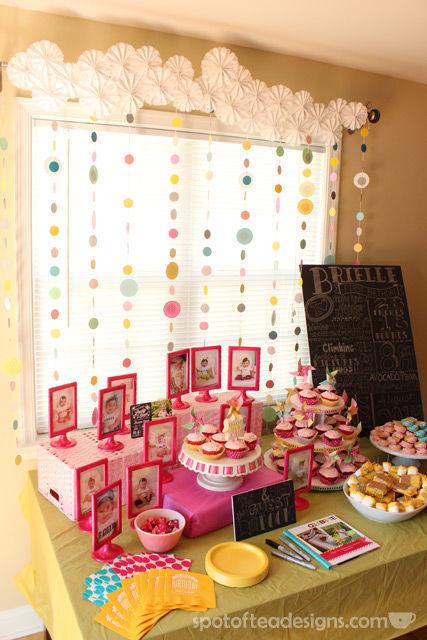 Pinwheel first birthday party: Dessert Table #birthdayparty | spotofteadesigns.com