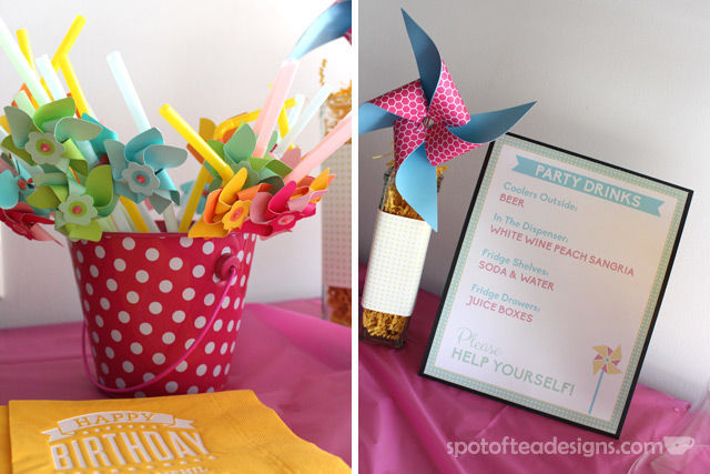Pinwheel first birthday party: Party Drinks Sign. Let guests help themselves! #birthdayparty | spotofteadesigns.com