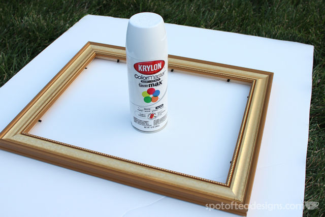 Easy Picture Frame Makeover: Taking an old gold frame and making it crisp modern white! | spotofteadesigns.com