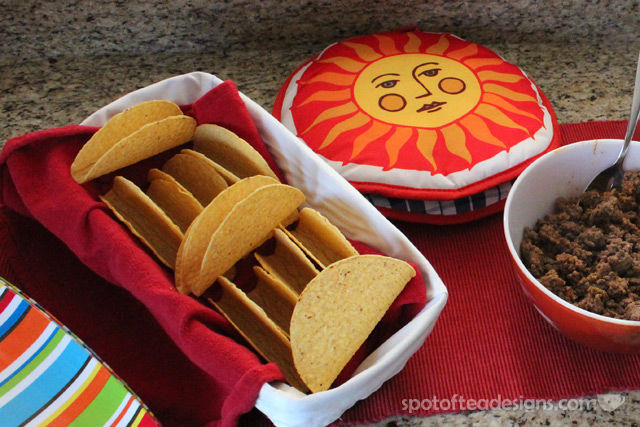 Group Dinner Idea: Tips for a great TACO bar. Use this soft tortilla warmer! | spotofteadesigns.com