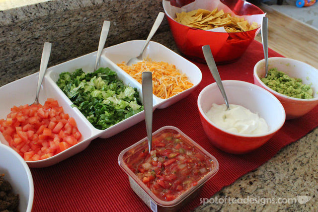 Group Dinner Idea: Tips for a great TACO bar. Colorful Toppings | spotofteadesigns.com