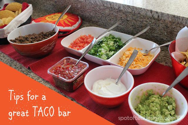 Group Dinner Idea: Tips for a great TACO bar. | spotofteadesigns.com