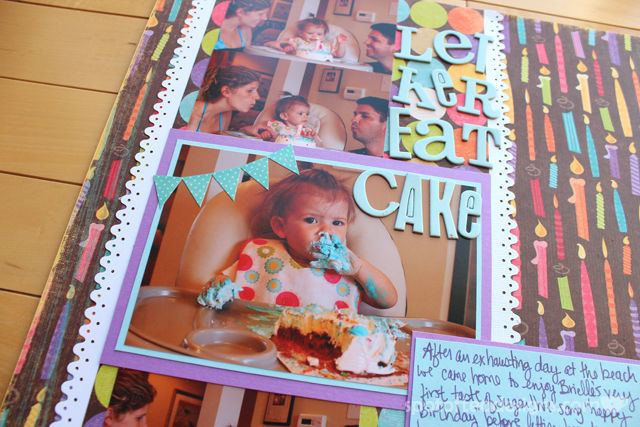 Baby Book done as scrapbook. Birthday Cake featuring K&Company | spotofteadesigns.com