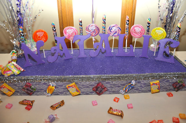 Candy Themed Bat Mitzvah: welcome table | spotofteadesigns.com