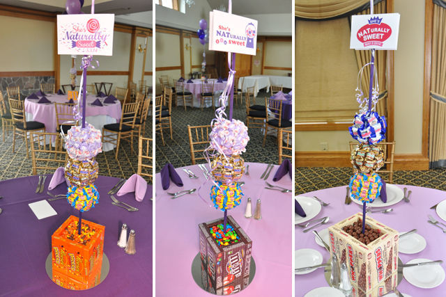 Candy Themed Bat Mitzvah: centerpieces made from candy! | spotofteadesigns.com