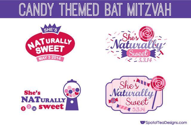 Candy Themed Bat Mitzvah: four logo designs | spotofteadesigns.com