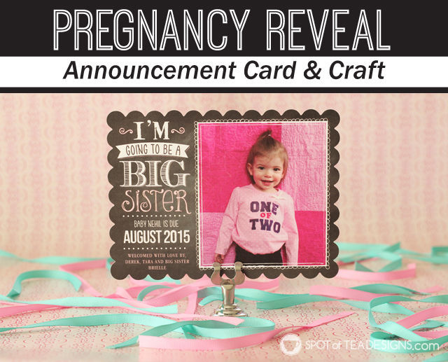 #Pregnancy Reveal Announcement Cards from @TinyPrints featuring a handmade onesie shirt | spotofteadesigns.com