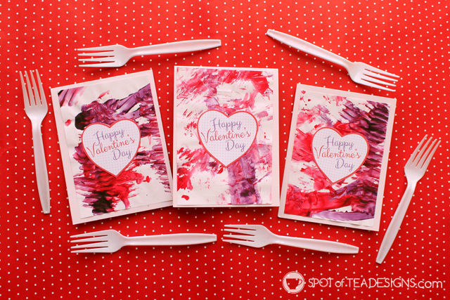 Valentine's Day themed Fork Painting: fun activity for #toddlers #ValentinesDay #kidscraft   spotofteadesigns.com