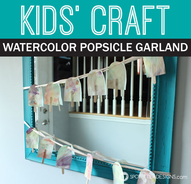 Kids Craft: Summer Popsicle Garland #kidscraft | spotofteadesigns.com
