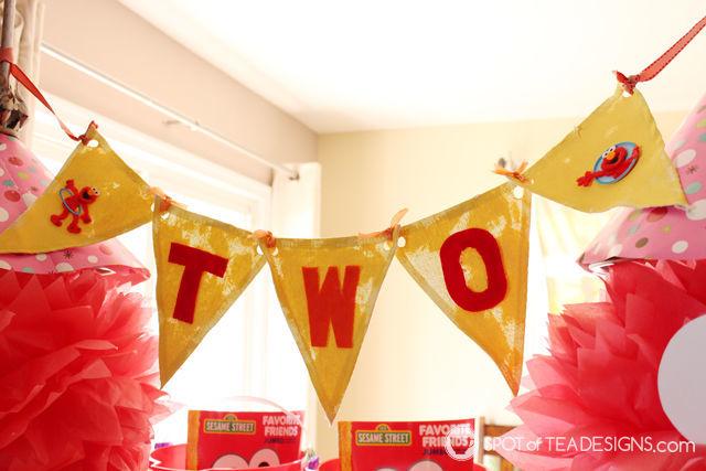 Elmo 2nd #Birthday #Party - handmade party banner | spotofteadesigns.com