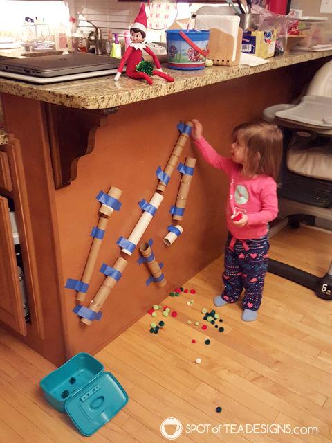 Elf on the shelf ideas for a 2 year old - pom pom drop | spotofteadesigns.com