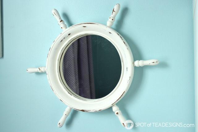 Ship wheel mirror #makeover using @DecoArt_Inc Chalk Paint. #nursery #DIY #wallart | spotofteadesigns.com