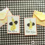 Bee Mine Footprint Valentine's Day Cards