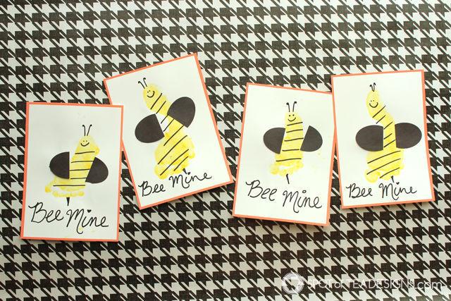Bee Mine Footprint Valentines #kidscraft   spotofteadesigns.com