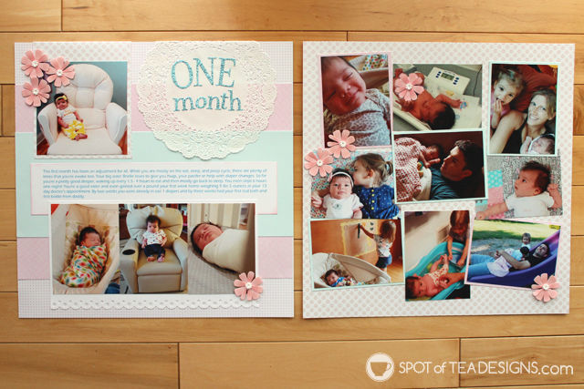 Hailey's First Year - Baby #Scrapbook - Month 1   spotofteadesigns.com