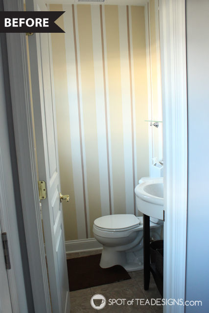 Half Bathroom Makeover - Before photo   spotofteadesigns.com