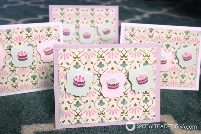 Handmade cards featuring Cupcake stickers | spotofteadesigns.com