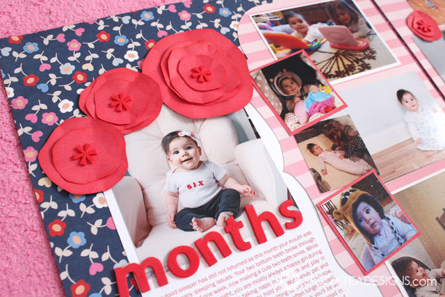Hailey's First Year #Scrapbook - Month 6 layered flowers   spotofteadesigns.com