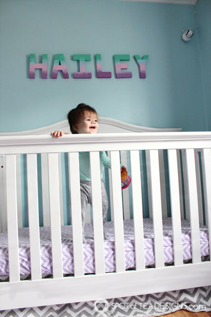 Under the Sea Nursery - Ombre Letters over crib | spotofteadesigns.com