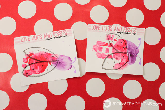 Love Bugs and Kisses Valentines Kids Craft with free printable   spotofteadesigns.com
