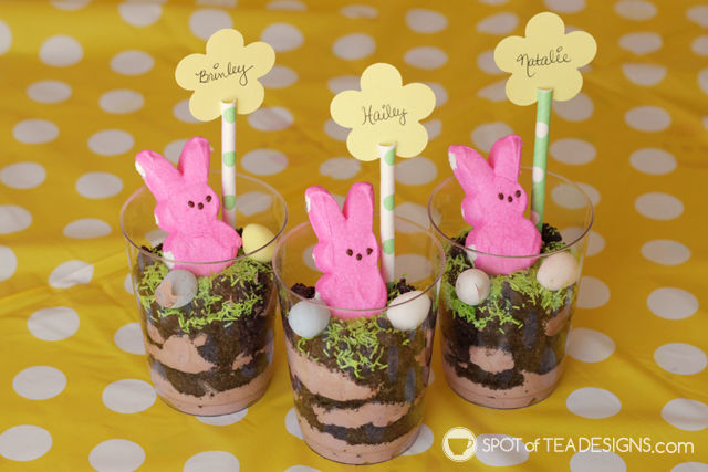 No Bake Easter Pudding Cups - made with toddlers! | spotofteadesigns.com