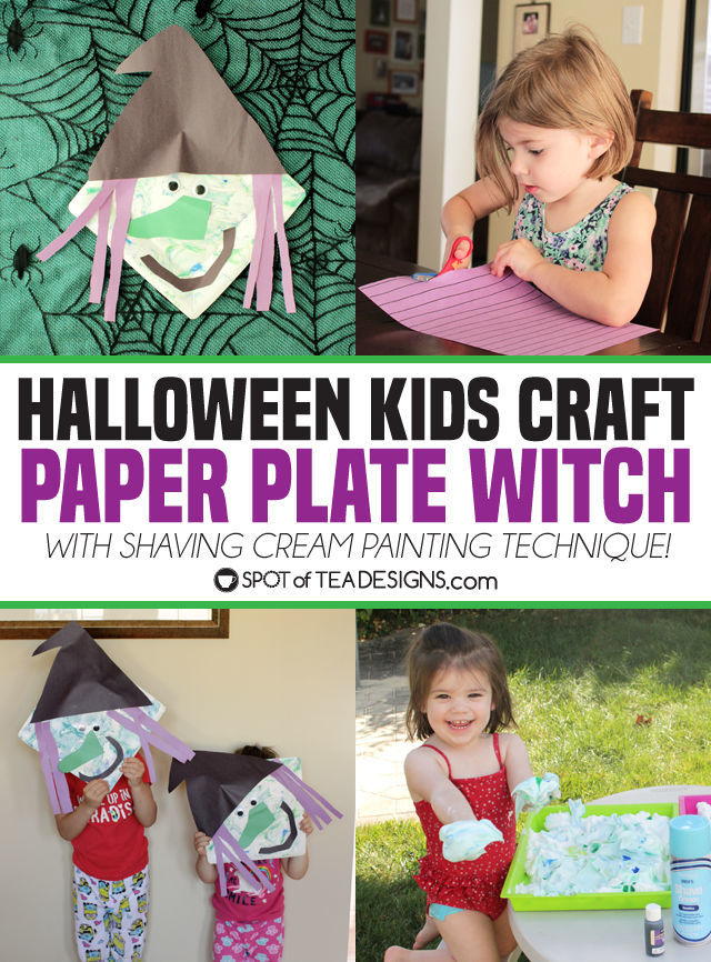 Halloween Kids Craft: paper plate witch with shaving cream painting technique! | spotofteadesigns.com