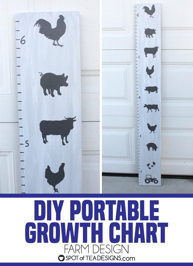 DIY portable growth chart for baby nursery featuring farm design | spotofteadesigns.com