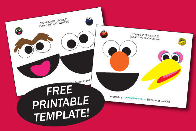 "Sesame Street Party printables - cut and add to 6"" paper fans 