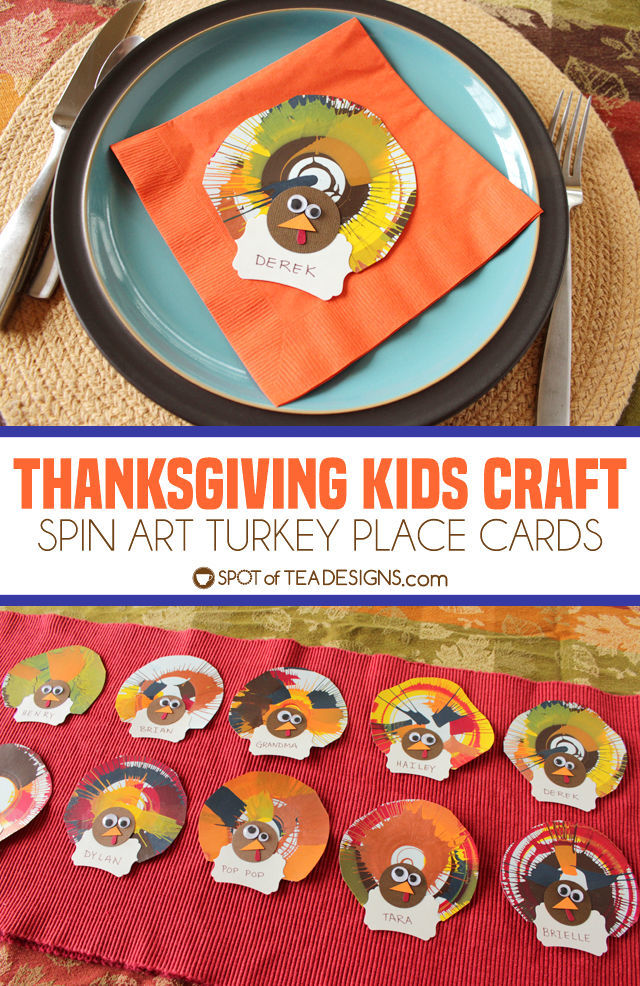 Thanksgiving Kids Craft Spin Art Turkey Place Cards - let kids help set the table and assign seats! | spotofteadesigns.com