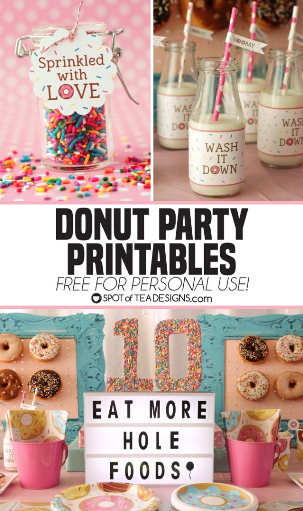 Donut Party Printables - free for personal use! | spotofteadesigns.com