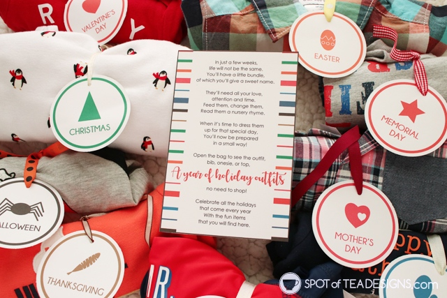 Baby shower gift idea: year of holiday outfits - with free printable | spotofteadesigns.com