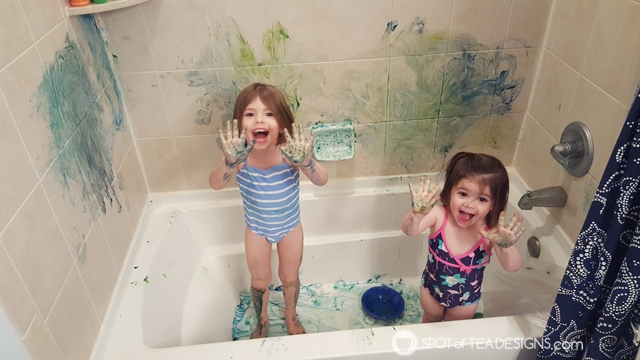Entertain a toddler in winter - paint in the tub   spotofteadesigns.com