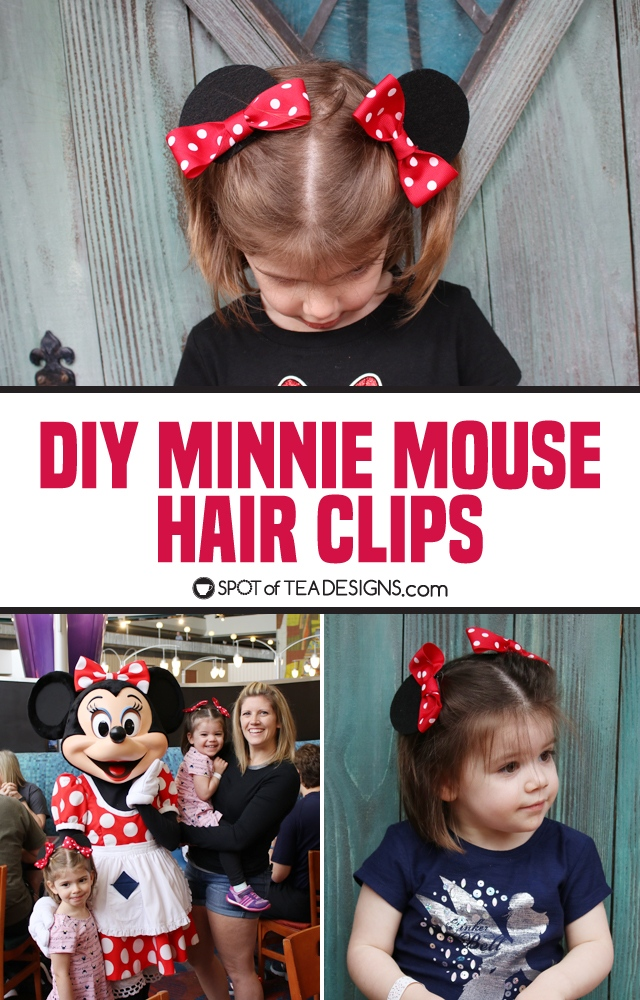 DIY Minnie Mouse Hair Clips | spotofteadesigns.com