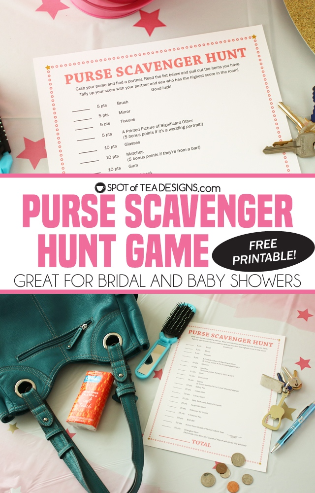 graphic regarding Bridal Shower Purse Game Printable named Free of charge Printable Purse Scavenger Hunt Match Superb for a little one