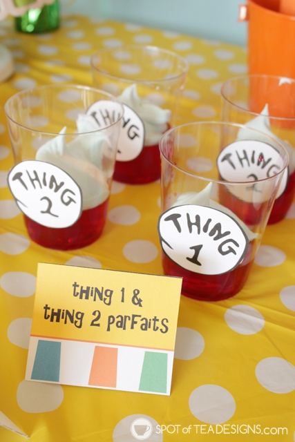 Cute Jello Party desserts - dr seuss thing 1 and thing 2 | spotofteadesigns.com
