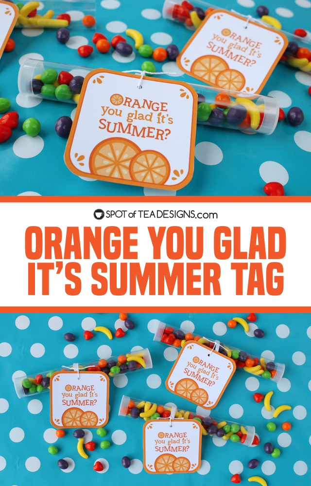Orange you glad it's summer favor tags. Add to fruit snacks, fruit candies or an actual orange for a sweet gift! | spotofteadesigns.com