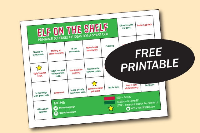 Elf on the shelf activities for a 5 year old, printable schedule! | spotofteadesigns.com