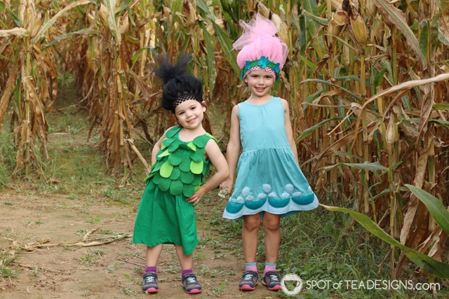 DIY Poppy and Branch Trolls Halloween Costumes with free templates   spotofteadesigns.com